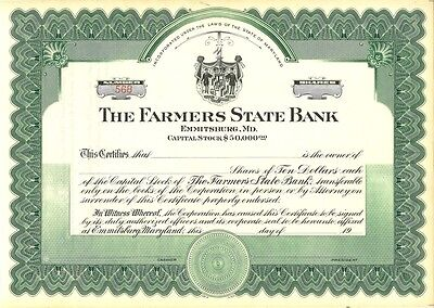The Farmers State Bank   Emmitsburg, Maryland old stock certificate share
