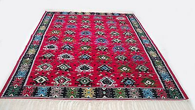 "Antique tribal vintage handmade hand-knotted soft rug 80 "" x 120"" 100% wool  #35"