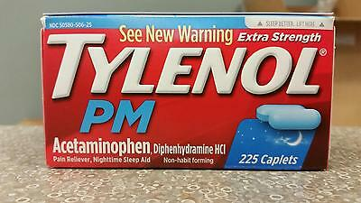 Tylenol PM 225 ct Caplets Extra Strength Pain reliever sleep aid Sleeping Pills