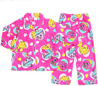 NEW Sz 3-8 KIDS PYJAMAS SHOPKINS GIRL FLANNEL WINTER FLANNELETTE SLEEPWEAR PJS