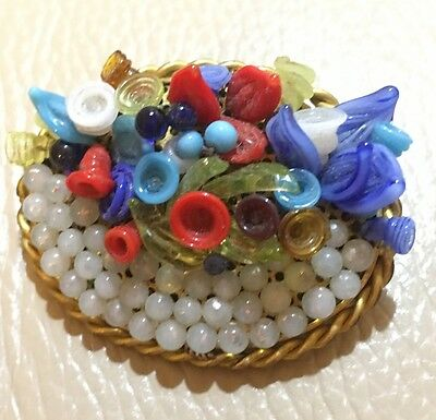 Antique Art Nouveau Individual Multi Glass Flowers Leaves Brooch Pin Green Gift