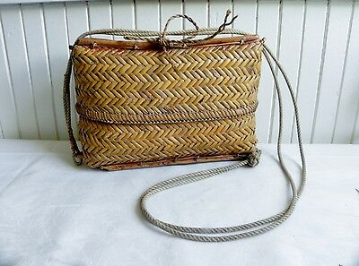 "Vintage Wicker Woven Creel Fly Fishing Basket Top on Sliding Rope 12""x8"""