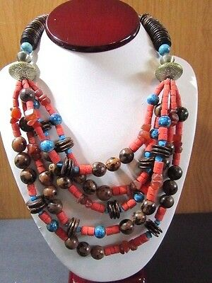 Multistrand Coconut Spiny Oyster Amber Chip Beaded Necklace Browns Orange