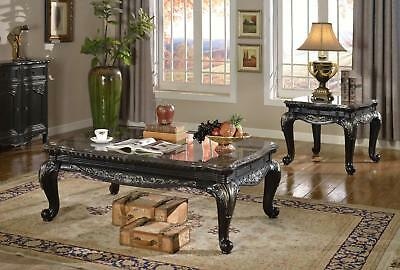 Meridian Furniture Florence Traditional Black Genuine Marble Top Table Set 3Pcs