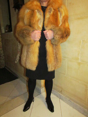 Beautiful Vintage Ginger Red Fox Fur Coat Jacket S Big Collar
