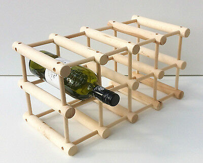 Wooden Free Standing vine rack, 12 Bottles Bar Kitchen Stand,flat pack