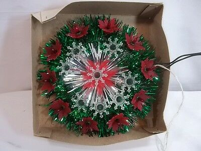 Vintage Poinsetta Circle of Lights Christmas Wall Decor Wreath For Parts