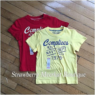 New 2 x Boys Complices French Designer T-shirt Top Bundle Combo Yellow & Red 5