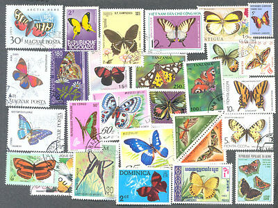 Butterflies & Moths-500 all different stamp collection-excellent value