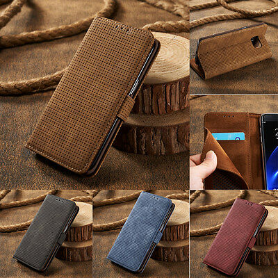 Ultra Thin Leather Magnetic Flip Card Wallet Case Cover For Samsung Galaxy S7 S8