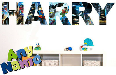 LEGO BATMAN letter name wall stickers (3 sizes available & PRE-CUT)