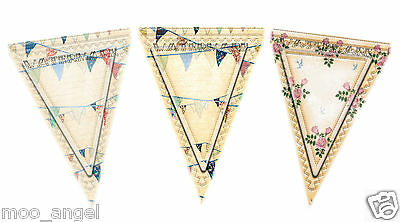 3 x shabby chic bunting flags on A4 card