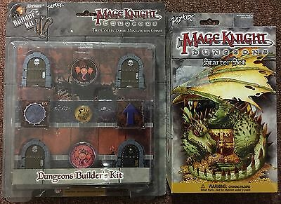 Mage Knight Dungeons Starter Set Factory + Dungeons Builder's Kit 3 Sealed NEW