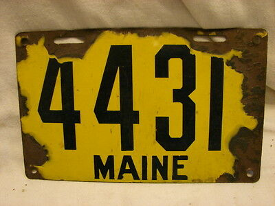 Maine Porcelain Yellow License Plate