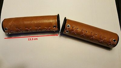 "Universal cafe racer Leather Motorcycle Handlebar Hand Grips 7/8"" 22mm New"