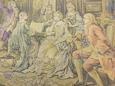 """Antique Belgian Tapestry Wall Hanging Parlor Scene 24"""" x 19"""" Victorian Hook"""