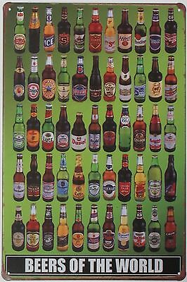 Beers of the World Metal Sign