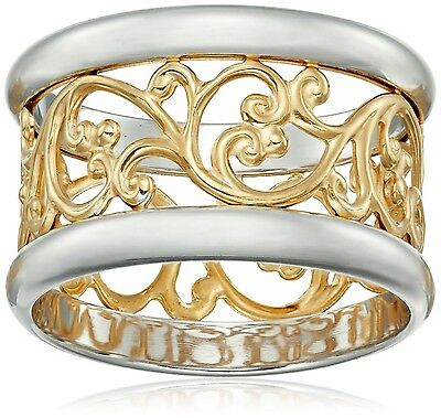 14k Gold over Sterling Silver Filigree Band Ring 8