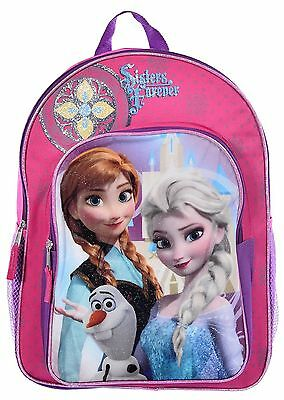 """Disney Frozen Girls' 16"""" All-in-One Sparkling Pink """"Sisters Forever"""" Backpack"""