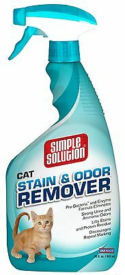 Simple Solution Cat Stain and Odor Remover Spray Bottle 32-Ounce