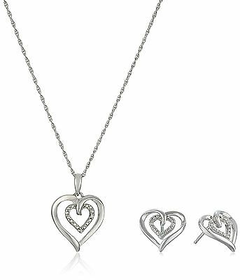 Sterling Silver and Diamond Heart Pendant Necklace and Earrings Box Set (.03 ...