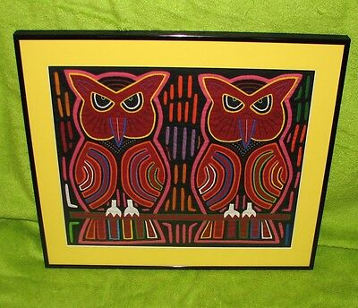 Semi Professional Glass Framed Art Qulted Owls Birds 17 x15 Unsigned