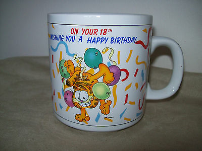 """Vintage Garfield The Cat Mug  """"On Your 18th Wishing You A Happy Birthday"""""""