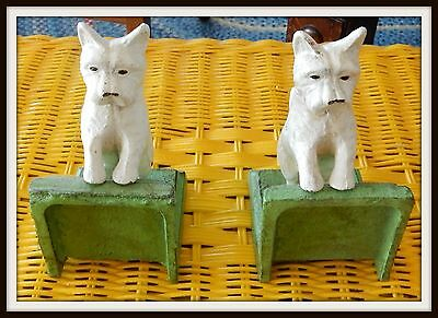 Set of 2 Heavy WEST HIGHLAND WHITE TERRIER WESTIE DOG Cast Iron BOOKENDS    j