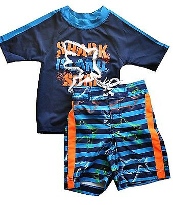 Children's Place boy's shark swim trunks & rash guard UV protection size 4 NWT