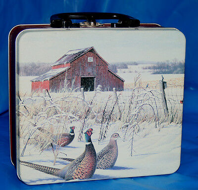 "Metal Lunchbox Ring-necked Pheasant 7"" x 6.25"" x 3"" Plastic handle metal closure"