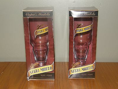 "Negra Modelo Gold Rim Mexican Cerveza 7 1/4"" tall Beer Glass SET OF 2 in Boxes"