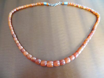 Old Chinese Tibetan Carnelian Carved Barrels Beads Necklace silver closer 24""