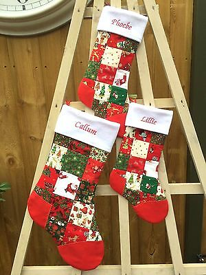 Personalised Christmas Stocking - Red/Green Traditional - Gift Xmas Patchwork