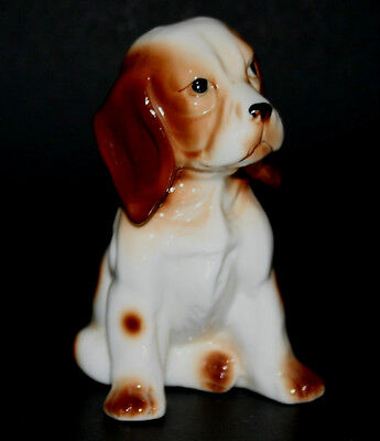 "Spaniel Puppy Dog Ceramic Porcelain Figurine 4"" Giftcraft Taiwan Mid Century VTG"
