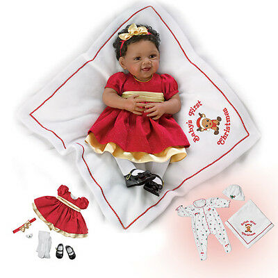 Ashton Drake - BABY'S FIRST CHRISTMAS Baby Girl Doll By Waltraud Hanl