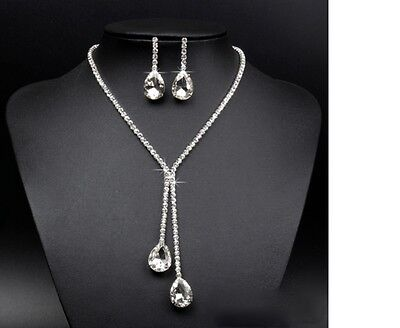 Silver Bridesmaid Crystal Necklace Earrings Set Wedding Bridal Jewellery Gift