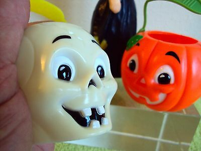 Vintage Lot HALLOWEEN Sun Hill Plastic Skull & Pumpkin + Suni Witch Candle
