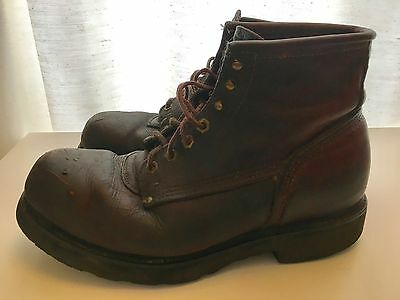 Vintage Brown Leather Carolina Work Ankle Boots Safety Steel Toe USA SZ12(?)