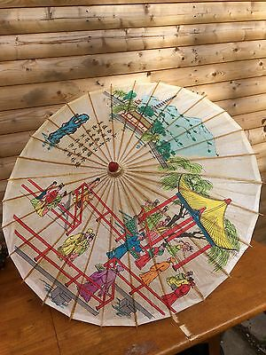 Vintage Chinese Rice Paper and Bamboo Parasol