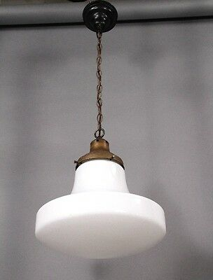 1930s Antique Milk Glass Pendant Light Vintage School House Lighting (10015)