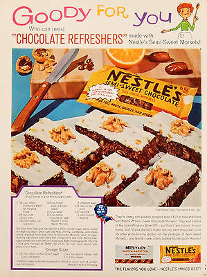 Vintage 1960 Nestle chocolate chips recipe advertisement print ad art