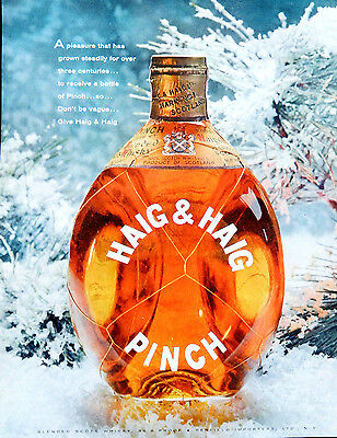 Vintage 1957 Haig & Haig Pinch Scotch Whisky advertisement print ad art