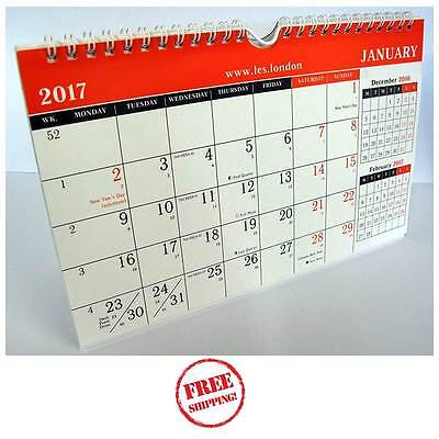 2017 Wall Planner Calender 3 Month to View Large Spiral Calendar for School Home