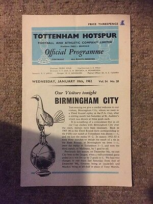 Rare 1962 Programme TOTTENHAM H.  V Birmingham City Vol 54 No 28 10 January