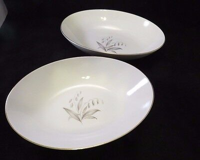 Kaysons Golden Rhapsody 2 Oval Vegetable Serving Bowls Gray Leaves Gold Trim