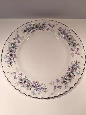 """J & G Meakin Classic White MORNING DEW Daisies Blue Purple Floral Plates 10"""""""