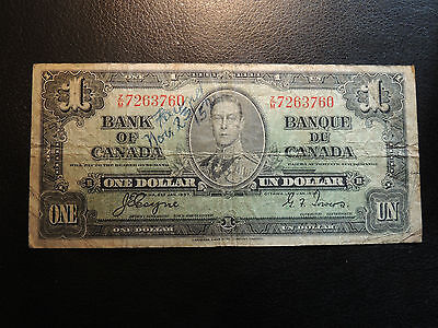 1937 BANK OF CANADA $ 1 ONE DOLLAR COYNE TOWERS Z/M 7263760 BC-21d