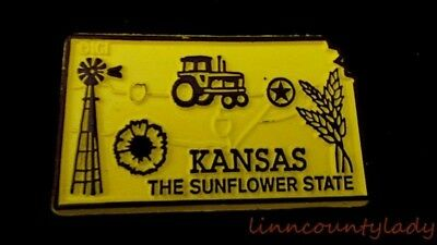 KANSAS State Outline Magnet Sunflower State Yellow Brown Windmill Tractor FR SHP