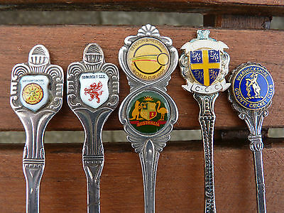 Rare Vintage Collection Of 6 Cricket Spoons Northants Somerset Durham Free P&p..