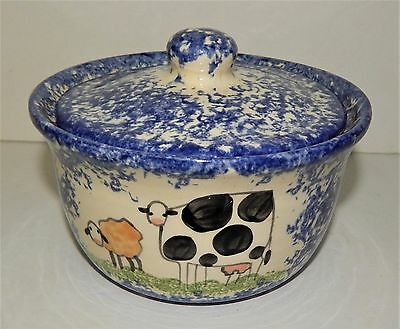 Molly Dallas Spatterware Pottery ROUND CROCK w/ LID Cow Sheep Folk Art Bowl